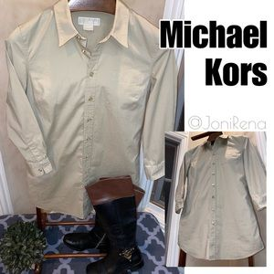 🌟MK Tan/GOLD Button Up | LONG Style | Size 12🌟